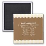 Beige gingham liquid measure chart kitchen helper square magnet