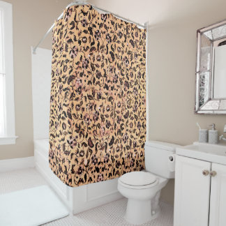 Beige Girly Floral Pattern Shower Curtains