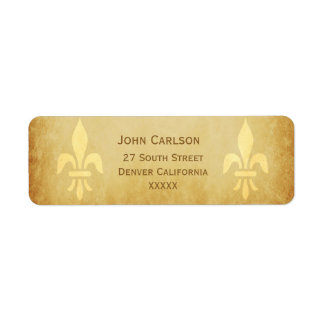 Beige gold de luxe French style fleur de lis Return Address Label