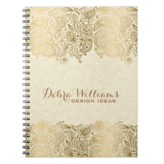 Beige & Gold Floral Paisley Lace Notebooks