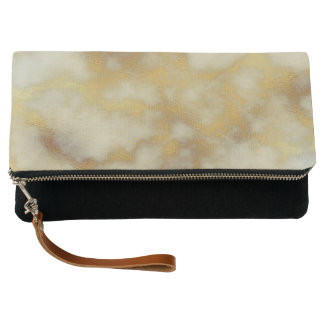 BEIGE & GOLD MARBLE Fold-Over Clutch