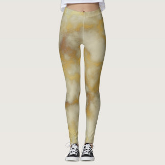 Beige & Gold Marble Leggings