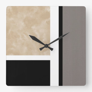 Beige Gray Black and White Modern Square Wall Clock