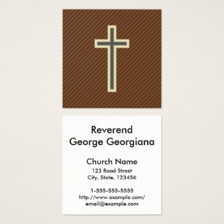 Beige & Gray Christian Cross on Brown Stripes Square Business Card