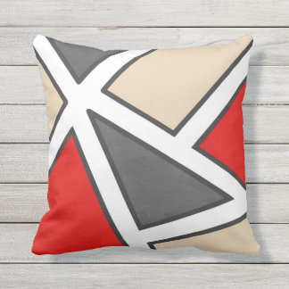 Beige Gray Red Black White Geometric Outdoor Pillow