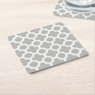 Beige Gray White Retro Ikat Quatrefoil Pattern Square Paper Coaster