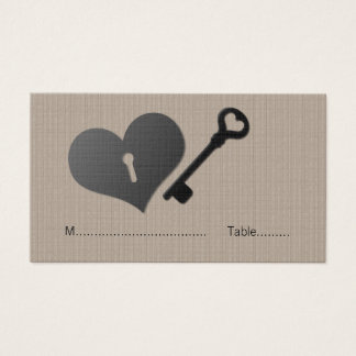 Beige Heart Lock and Key Place Card