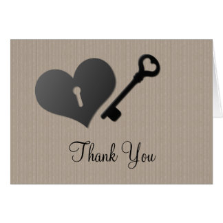 Beige Heart Lock and Key Thank You Card