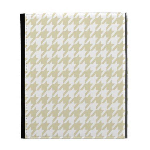Beige Houndstooth iPad Folio Cases