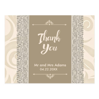 Beige Ivory Lace | Wedding Thank You Postcard
