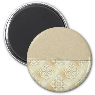Beige Lace Vintage Customizable Card 2 Inch Round Magnet