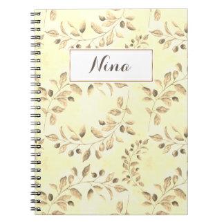 Beige Leaves Notebook