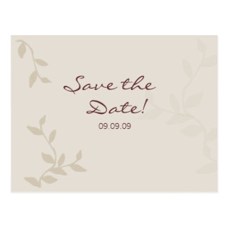 Beige Leaves Save the Date Postcard