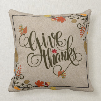 Beige Linen, Give Thanks, Thanksgiving Frame Throw Pillow