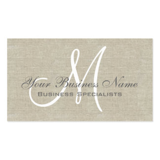Beige Linen Grey Simple Plain Monogram Pack Of Standard Business Cards