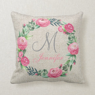 BEIGE LINEN PINK ROSES AND WATERCOLOR LEAVES THROW PILLOW