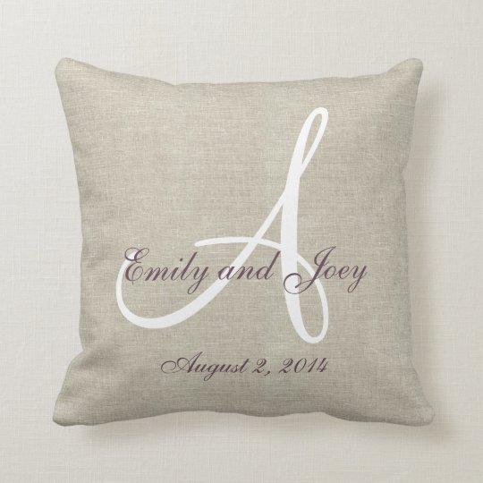 Linen Monogram Throw Pillow: Beige Linen Purple White Monogram Wedding Keepsake Throw