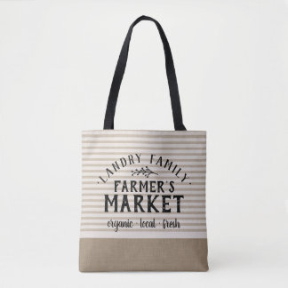 Beige Linen Stripes Custom Farmer's Market Tote