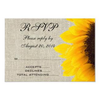 Beige Linen Sunflower Rustic Wedding RSVP 3.5x5 Paper Invitation Card