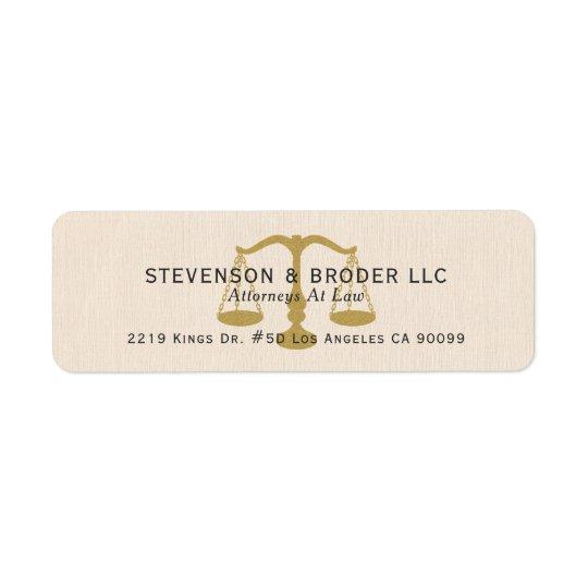 Beige Linen Texture & Gold Justice Scale Return Address Label