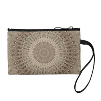 Beige mandala coin purse