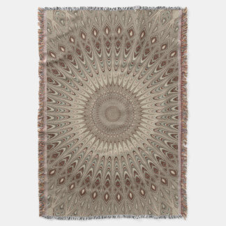 Beige mandala throw blanket