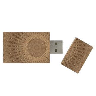 Beige mandala wood USB 3.0 flash drive