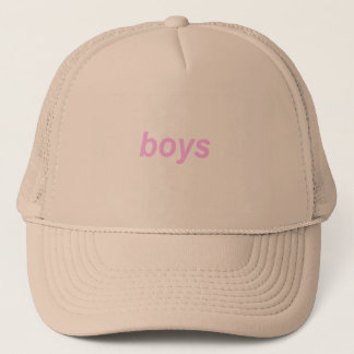 "Beige Minimalistic pink and ""boys"" CAP"