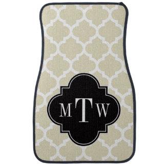 Beige, monogramme initial du noir 3 blancs du tapis de sol