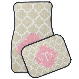 Beige, monogramme initial du rose 3 blancs du tapis de voiture