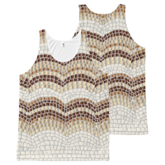 Beige Mosaic All-Over Print Tank Top
