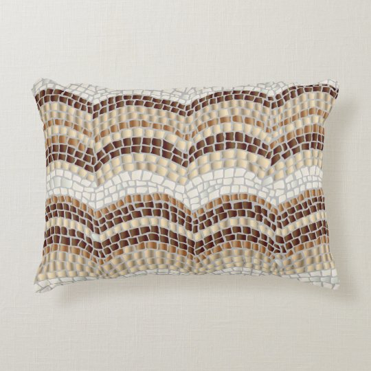 Beige Mosaic Cotton Accent Pillow
