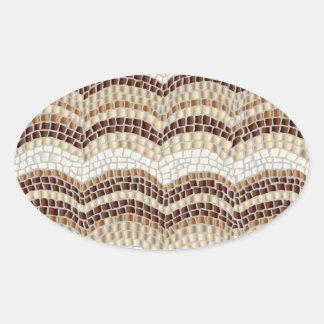 Beige Mosaic Glossy Oval Sticker