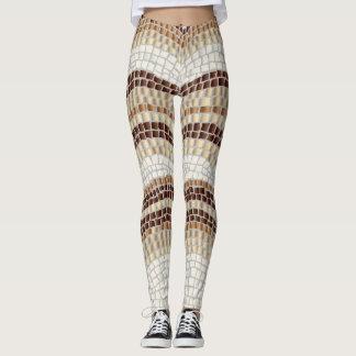 Beige Mosaic Leggings