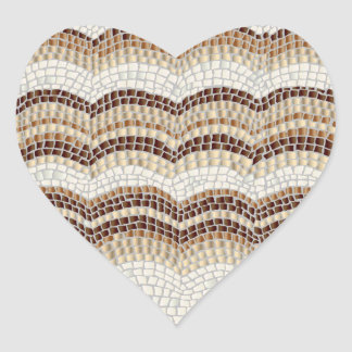 Beige Mosaic Matte Heart Sticker