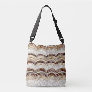 Beige Mosaic Medium All-Over Print Cross Body Bag