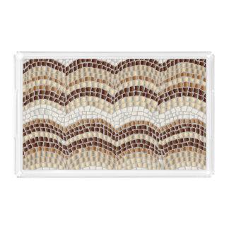 Beige Mosaic Medium Rectangle Serving Tray