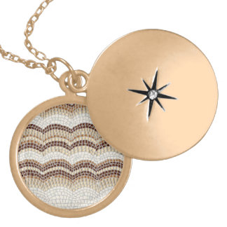 Beige Mosaic Medium Round Locket