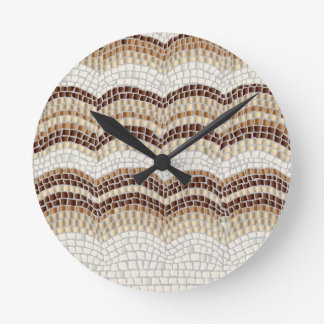 Beige Mosaic Medium Round Wall Clock