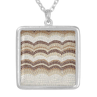 Beige Mosaic Medium Square Necklace