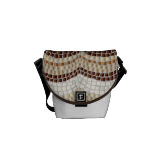 Beige Mosaic Mini Messenger Bag