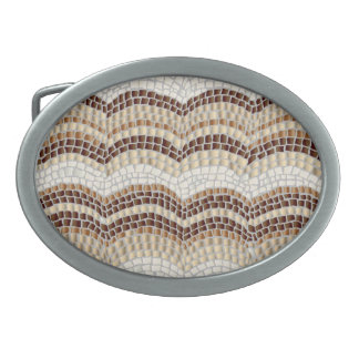 Beige Mosaic Oval Belt Buckle