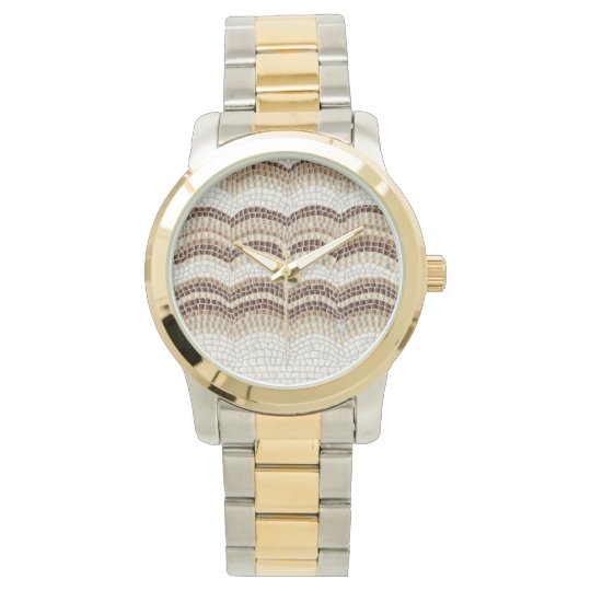 Beige Mosaic Oversized Two-Tone Bracelet Wrist Watch