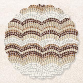 Beige Mosaic Scalloped Round Coaster