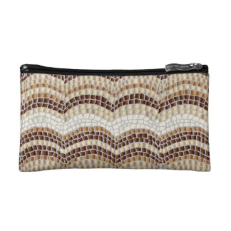 Beige Mosaic Small Cosmetic Bag