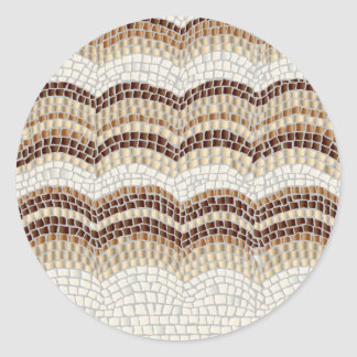 Beige Mosaic Small Matte Round Sticker