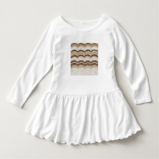 Beige Mosaic Toddler Ruffle Dress