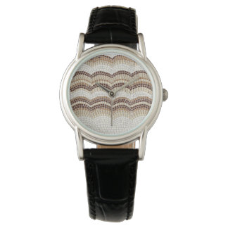 Beige Mosaic Women's Classic Black Leather Watch
