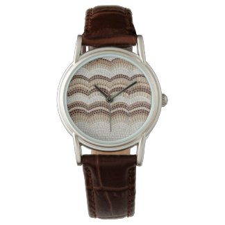 Beige Mosaic Women's Classic Brown Leather Watch