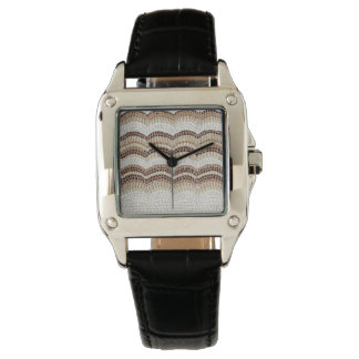 Beige Mosaic Women's Square Black Leather Watch